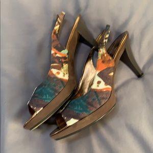 Colorful Nine West sling back heels